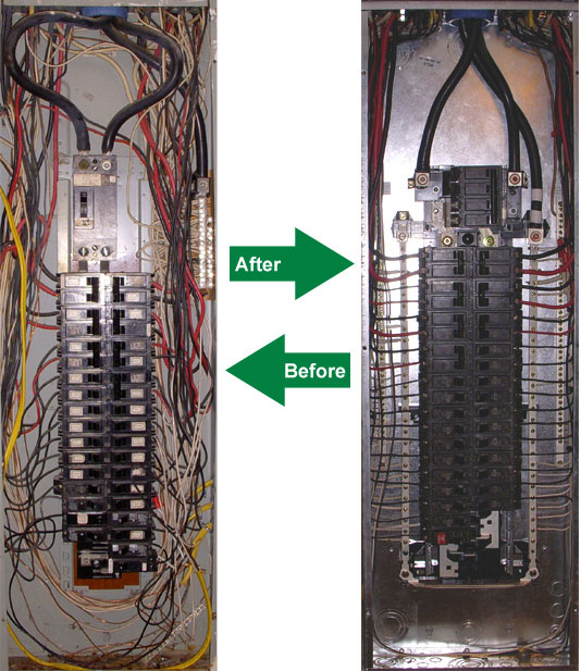 before and after panel replacement o brien electrical